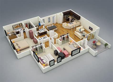 Home Design 3d 25 More 3 Bedroom 3d Floor Plans