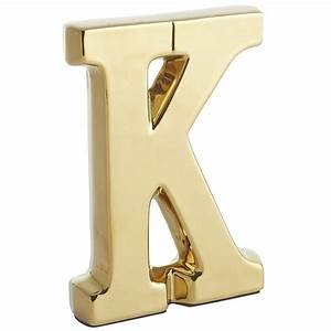 Monogram ceramic letter gold k earthenware decor for Decorative ceramic letters