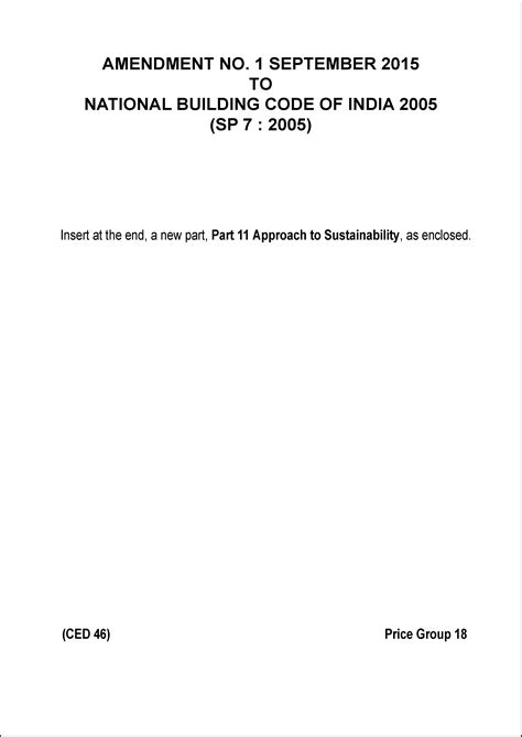 IS SP 7 AMENDMENT 1 : National Building Code of India 2005