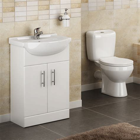 lyon high gloss white vanity unit cloakroom suite