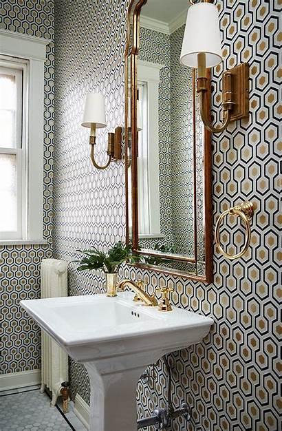 Bathroom Wall Powder Gold Walls Mirror Pattern