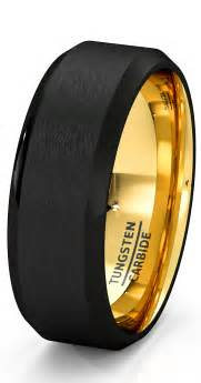 black gold mens wedding rings mens wedding band black gold tungsten ring brushed surface center beveled edge 8mm comfort fit
