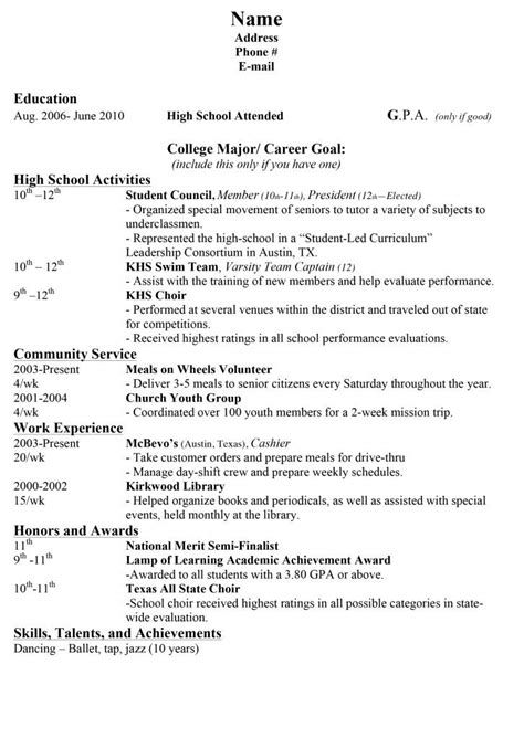 High School Resume For College Template by 15 Sle Resumes For High School Students For The Boys