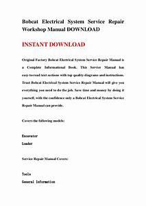 Bobcat Electrical System Service Repair Workshop Manual