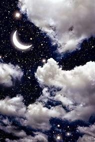 Beautiful Night Sky with Moon and Stars