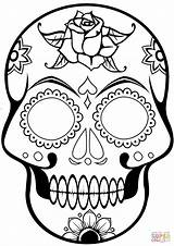 Coloring Skull Sugar Pages Printable Paper Drawing Crafts sketch template