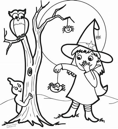 Witch Coloring Pages Halloween Face Owl Pretty
