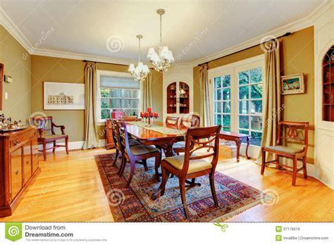 elegant furnished dining room  wooden rustic dining