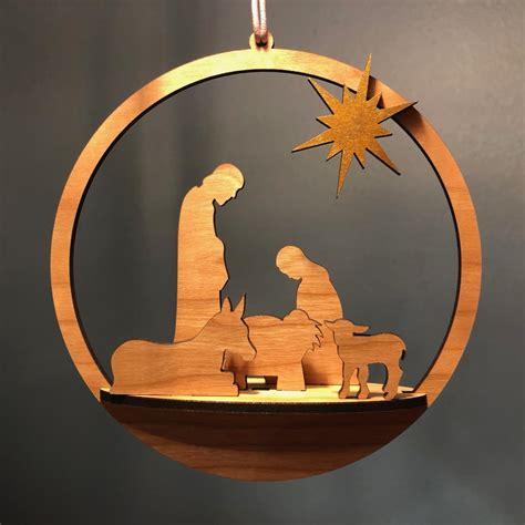 laser cut merry christmas nativity ornament svg file designs cnc  vectors   machines