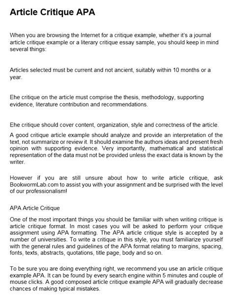article critique   critique  article   essaymap