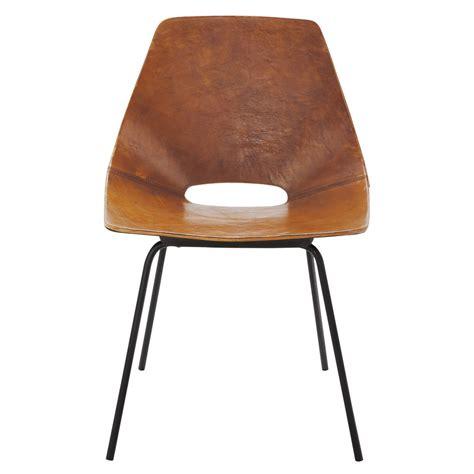 chaise tonneau guariche en cuir  metal cognac amsterdam maisons du monde
