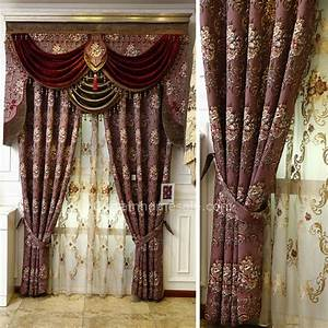 Victorian Living Room Curtain In Purple Color Chenille