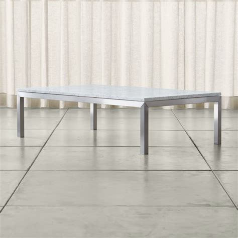 parsons white marble top stainless steel base  large