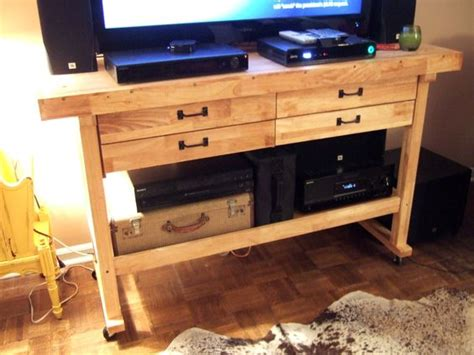 harbor freight wooden work bench converted into an