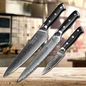 sunnecko, 3pcs, damascus, kitchen, knife, set, slicer, chef, paring, kinfe, cooking, knife, japanese, vg10