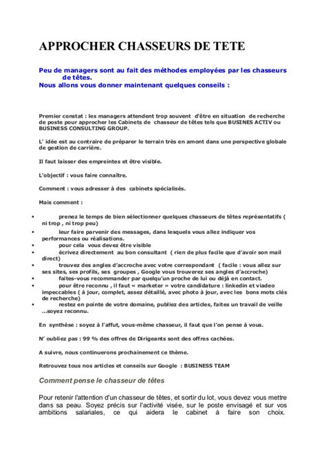 lettre de motivation cadre infirmier approcher chasseurs de tete