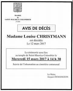 Avis De Deces Epinal : commune de saint maurice colombier ~ Dailycaller-alerts.com Idées de Décoration