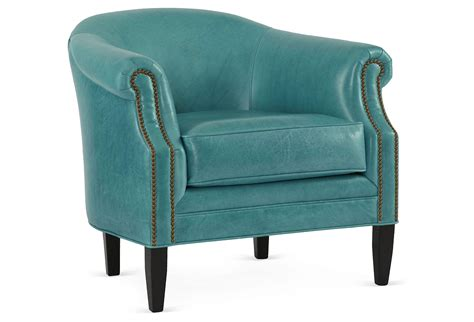 hyde leather barrel chair turquoise from one