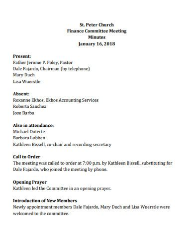 church meeting minutes examples   ms word
