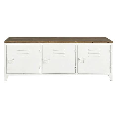 lit bureau fille meuble tv en métal blanc l 118 cm bruce maisons du monde