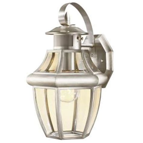 hton bay 1 light motion sensing outdoor brushed nickel