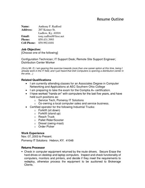 Resume Outlines by Resume Outline Resume Cv Exle Template