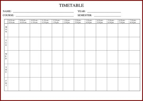 Template Revision Timetable Image Collections Template Timetable Template Bamboodownunder