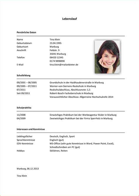 Bewerbung Lebenslauf Muster by Lebenslauf Beispiel Student Lebenslauf 2017 Schreiben