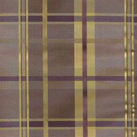 Cologne Plaid faux silk fabric in woodrose plum/purple and