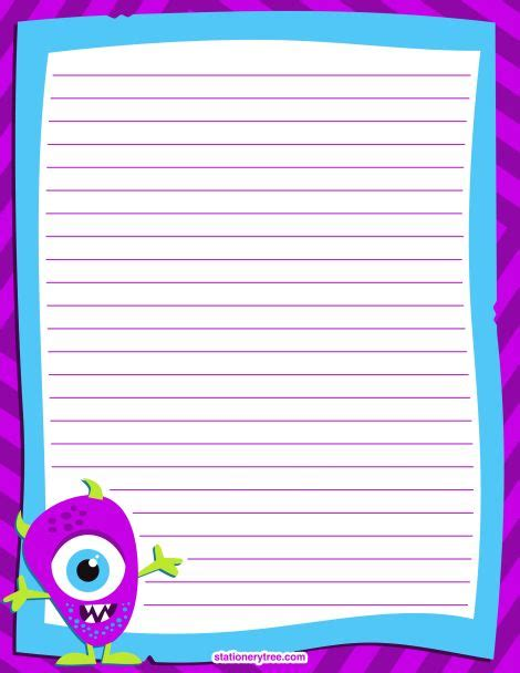 printable monster stationery  writing paper