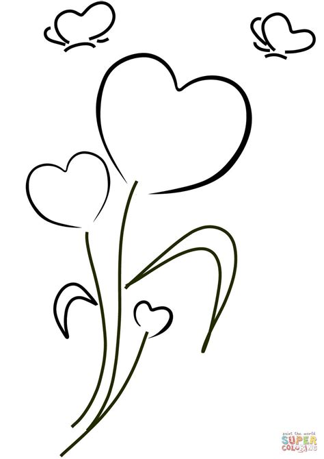hearts  flowers coloring page  printable coloring pages