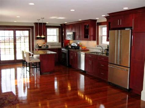 Kitchen Floor Ideas With Cherry Cabinets by Cabinets Prefab Granite Depot