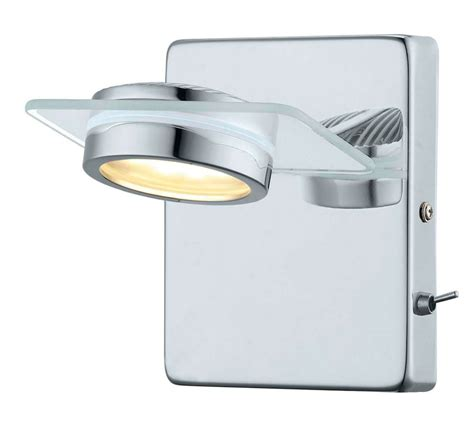 glossy led wall light 1l chrome finish with frosted glass