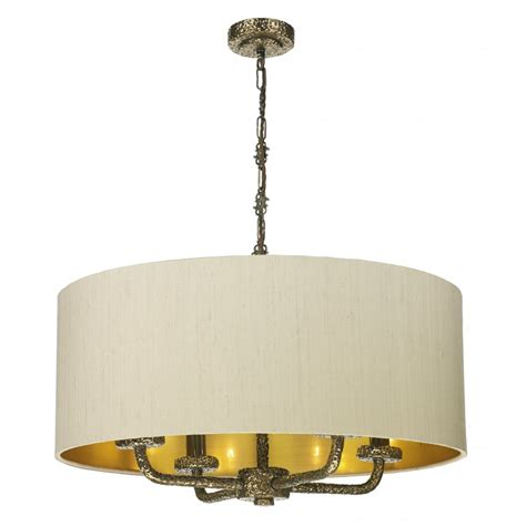 large taupe ceiling pendant light shade on bronze frame