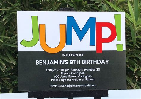 trampoline party printables invitations decorations