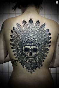 David Hale - skull with feather headdress tattoo...how ...