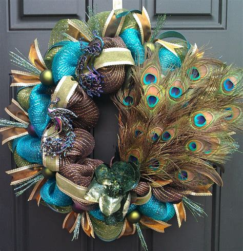 turquoise christmas wreath peacock mardi gras turquoise brown and green deco mesh wreath