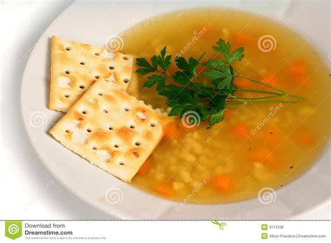 chicken soup  crackers royalty  stock