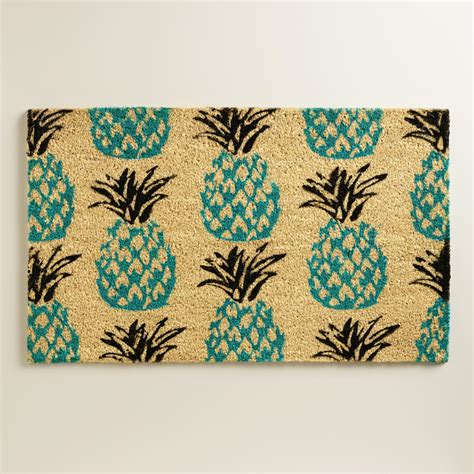 pineapple door mat blue pineapple doormat world market