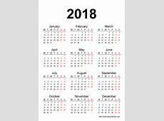 2018 Calendar One Page yearly printable calendar