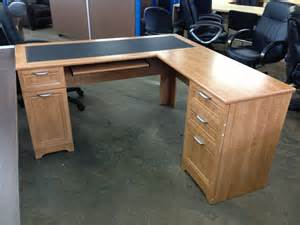 l shaped outlet desk 60 quot wide x 60 quot x 30 quot high realspace magellan collection honey maple