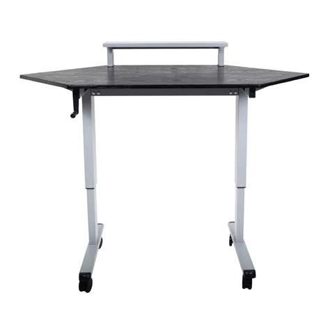 adjustable height stand up desk luxor adjustable height stand up corner desk silver and