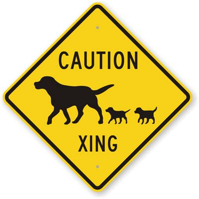 caution xing  dog crossing sign sku