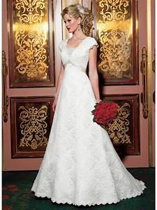 Modest a line empire short cap sleeves lace vintage for Modest lace wedding dresses