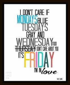 "The Cure ""Friday, I'm in LOVE"" Lyric Art Quote 8X10 ..."