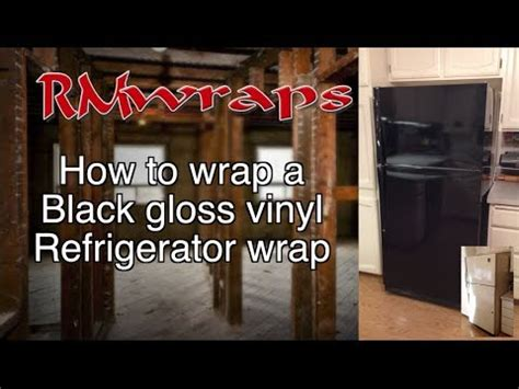 install  black vinyl   fridge wrap film rm