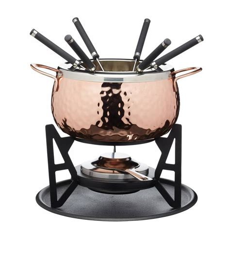 copper effect fondue set hand finished  distinctly living notonthehighstreetcom