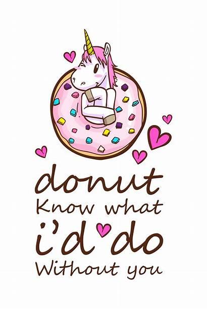 Unicorn Quotes Donuts Vector Clipart Illustration Premium