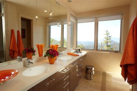 White Bathroom With Color Accents by Decorating With Orange Accents Inspiring Interiors