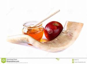 Shofar (horn), Honey, Apple Isolated On White. Rosh ...